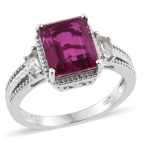 Radiant Orchid Quartz, White Topaz Platinum Over Sterling Silver Ring (Size 7.0) TGW 5.92 cts.