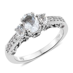 Brazilian Goshenite, Cambodian Zircon Platinum Over Sterling Silver Ring (Size 8.0) TGW 1.37 cts.