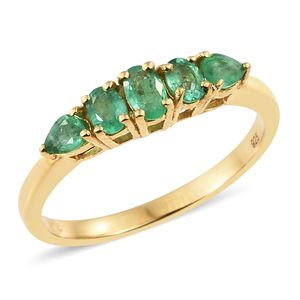 Brazilian Emerald Vermeil YG Over Sterling Silver 5 Stone Ring (Size 5.0) TGW 0.85 cts.