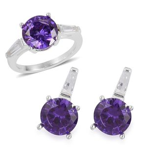 Simulated Amethyst, Simulated Diamond Stainless Steel Earrings and Ring (Size 9) TGW 3.40 cts.