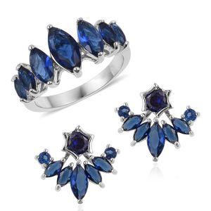 Blue Glass Silvertone Ear Jacket Earrings and Ring (Size 9) TGW 3.50 cts.