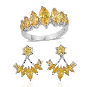 Simulated Yellow Diamond Silvertone Ear Jacket Earrings and Ring (Size 9) TGW 3.50 cts.