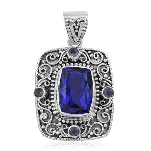 Playa Quartz, Catalina Iolite Sterling Silver Pendant without Chain TGW 8.14 cts.
