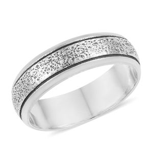 Sterling Silver Texture Band Ring (Size 8.0)