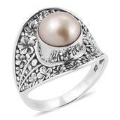 Bali Legacy Collection South Sea Golden Pearl (9 mm) Sterling Silver Concave Floral Ring (Size 10.0)