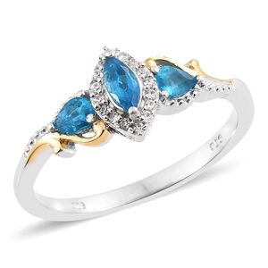 Malgache Neon Apatite, Cambodian Zircon 14K YG and Platinum Over Sterling Silver Ring (Size 5.0) TGW 0.68 cts.
