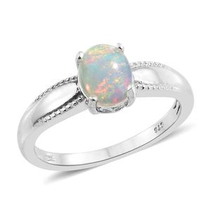 Ethiopian Welo Opal Platinum Over Sterling Silver Solitaire Ring (Size 10.0) TGW 1.00 cts.