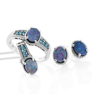 Customer Appreciation Day Australian Boulder Opal, Malgache Neon Apatite Platinum Over Sterling Silver Earrings, Ring (Size 10) and Pendant With Chain (20 in) TGW 3.79 cts.