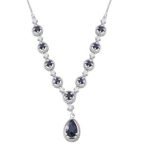 Madagascar Blue Sapphire, Cambodian White Zircon Sterling Silver Princess Drop Necklace (18 in) TGW 8.57 cts.