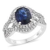 Dan's Collector Deal Himalayan Kyanite, Cambodian Zircon Platinum Over Sterling Silver Ring (Size 10.0) TGW 5.60 cts.
