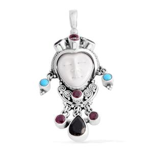 Bali Goddess Collection Carved Bone, Multi Gemstone Sterling Silver Pendant without Chain TGW 5.99 cts.