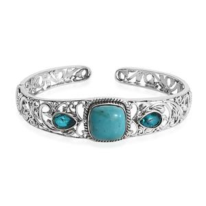 TLV Chinese Turquoise, Capri Blue Quartz Sterling Silver Cuff (7.25 in) TGW 11.75 cts.