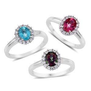 Northern Lights Mystic Topaz, Pure Pink Mystic Topaz, Paraiba Topaz, Cambodian Zircon Platinum Over Sterling Silver Set of 3 Ring (Size 9) TGW 5.65 cts.