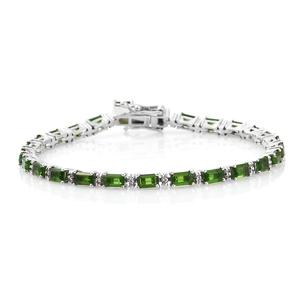 Russian Diopside, Cambodian Zircon Platinum Over Sterling Silver Bracelet (7.50 In) TGW 7.15 cts.