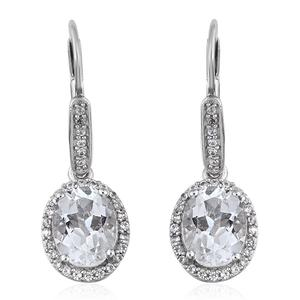 Brazilian Goshenite, Cambodian Zircon Platinum Over Sterling Silver Earrings TGW 3.92 cts.