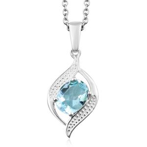 Sky Blue Topaz Sterling Silver Pendant With Stainless Steel Chain (20 in) TGW 2.00 cts.
