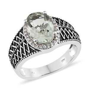 Green Amethyst, Cambodian Zircon Black Oxidized & Platinum Over Sterling Silver Men's Ring (Size 10.0) TGW 5.44 cts.