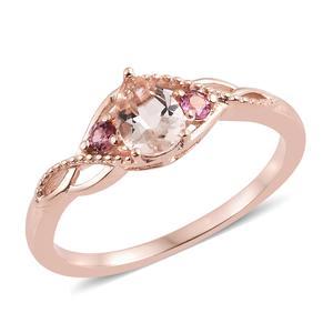 Marropino Morganite, Morro Redondo Pink Tourmaline Vermeil RG Over Sterling Silver Ring (Size 7.0) TGW 0.75 cts.