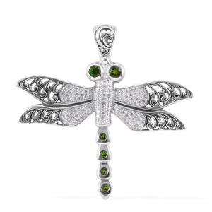Bali Legacy Collection Russian Diopside, White Zircon Sterling Silver Dragonfly Pendant without Chain TGW 1.26 cts.