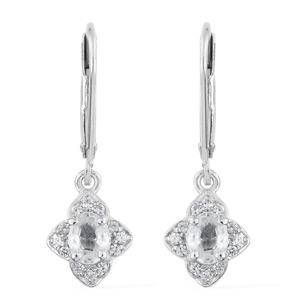 Natural White Zircon Platinum Over Sterling Silver Lever Back Earrings TGW 1.39 cts.