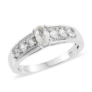 Natural White Zircon Platinum Over Sterling Silver Ring (Size 7.0) TGW 1.75 cts.