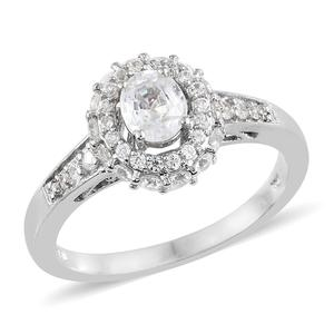 Natural White Zircon Platinum Over Sterling Silver Ring (Size 7.0) TGW 2.06 cts.