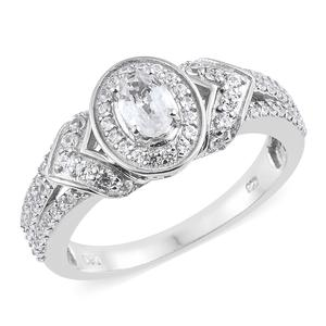 Natural White Zircon Platinum Over Sterling Silver Ring (Size 7.0) TGW 1.67 cts.