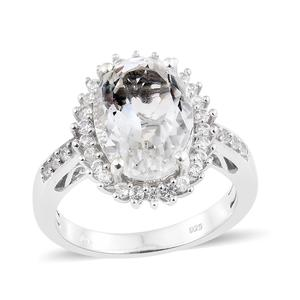 Petalite, Cambodian Zircon Platinum Over Sterling Silver Ring (Size 9.0) TGW 5.80 cts.