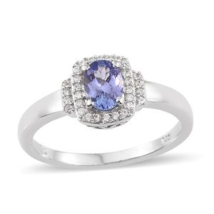 Tanzanite, Cambodian Zircon Platinum Over Sterling Silver Ring (Size 5.0) TGW 1.06 cts.