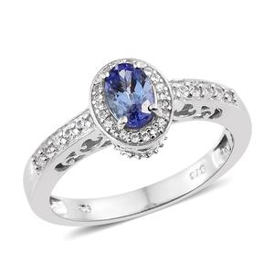 Tanzanite, Cambodian Zircon Platinum Over Sterling Silver Ring (Size 6.0) TGW 1.04 cts.