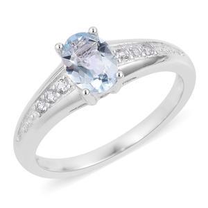 Espirito Santo Aquamarine, White Zircon Sterling Silver Ring (Size 7.0) TGW 0.78 cts.