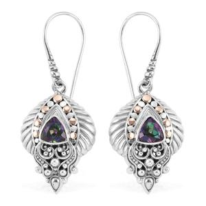 Bali Legacy Collection 18K YG Northern Lights Mystic Topaz Sterling Silver Earrings TGW 1.30 cts.