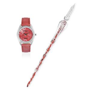 STRADA Japanese Movement Water Resistant Watch with Red Faux Leather Band and Stainless Steel Back and Calligraphy Pen