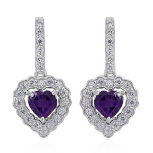 Lusaka Amethyst, Cambodian White Zircon Sterling Silver Heart Earrings TGW 4.26 cts.