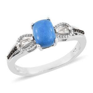 Ceruleite, Multi Gemstone Platinum Over Sterling Silver Ring (Size 7.0) TGW 1.32 cts.