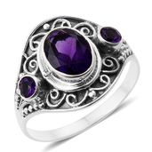 Lusaka Amethyst Sterling Silver Ring (Size 8.0) TGW 1.74 cts.