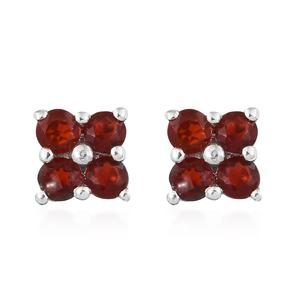 Crimson Fire Opal Platinum Over Sterling Silver Stud Earrings TGW 0.38 cts.
