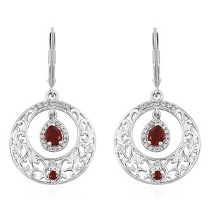 Crimson Fire Opal, Cambodian Zircon Platinum Over Sterling Silver Lever Back Inner Drop Dangle Earrings TGW 0.94 cts.