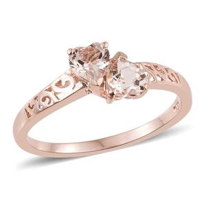 Marropino Morganite Vermeil RG Over Sterling Silver Openwork Heart Bypass Ring (Size 7.0) TGW 0.76 cts.