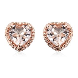 Marropino Morganite Vermeil RG Over Sterling Silver Heart Stud Earrings TGW 0.76 cts.