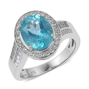 Paraiba Topaz, White Topaz Sterling Silver Ring (Size 10.0) TGW 3.63 cts.