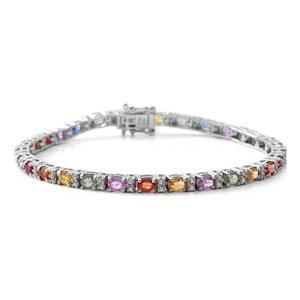 TLV Multi Sapphire, Cambodian Zircon Sterling Silver Bracelet (7.50 In) TGW 7.77 cts.