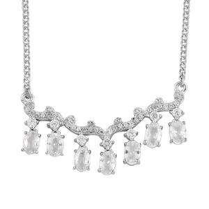 Natural White Zircon Platinum Over Sterling Silver 7 Stone Drop Necklace (18 in) TGW 6.27 cts.