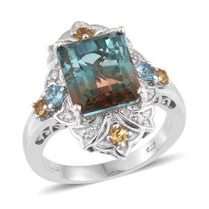 Aqua Terra Costa Quartz, Multi Gemstone Platinum Over Sterling Silver Ring (Size 10.0) TGW 8.14 cts.
