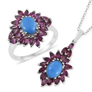 Ceruleite, Orissa Rhodolite Garnet Platinum Over Sterling Silver Ring (Size 7) and Pendant With Chain (20 in) TGW 5.95 cts.