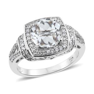 Petalite, Cambodian Zircon Platinum Over Sterling Silver Ring (Size 9.0) TGW 3.16 cts.