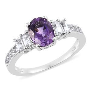 Moroccan Amethyst, White Topaz Platinum Over Sterling Silver Ring (Size 7.0) TGW 2.57 cts.