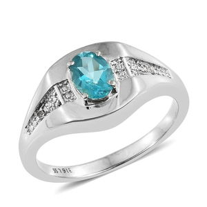 Paraiba Topaz, Cambodian Zircon Stainless Steel Men's Ring (Size 12.0) TGW 1.47 cts.