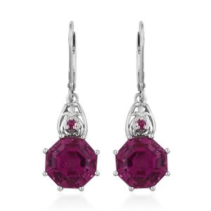 Radiant Orchid Quartz, Ruby Platinum Over Sterling Silver Lever Back Earrings TGW 9.78 cts.