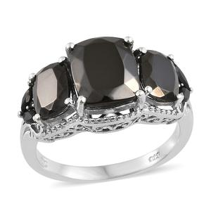Shungite, Thai Black Spinel Platinum Over Sterling Silver Ring (Size 7.0) TGW 4.89 cts.